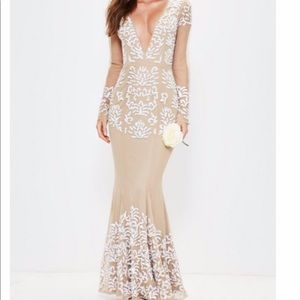 Beaded maxi formal gown long sleeve